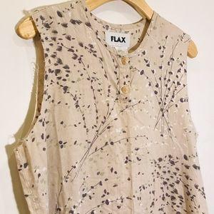 FLAX Floral Print Linen Tunic Lagenlook Top